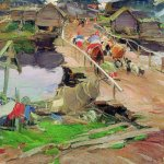 Abram Efimovich Arkhipov (1862–1930)  Morning in the village. Bridge  Oil on canvas, 1900-e  Saratov State Art Museum. AN Radishcheva, Saratov, Russia