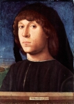 Antonello da Messina (c. 1430 – February 1479) Portrait of a Young Man c. 1478 Panel 20.4 cm × 14.5 cm (8.0 in × 5.7 in) Gemäldegalerie, Berlin, Germany