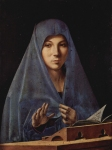Antonello da Messina (c. 1430 – February 1479) Virgin Annunciate c. 1476 Oil on wood 45 cm × 34.5 cm (18 in × 13.6 in) Palazzo Abatellis, Palermo, Italy