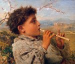 Sophie Gengembre Anderson (1823-1903)  Shepherd Piper  Oil on canvas, 1881  31 by 35cm., 12 by 13.5in  Private collection