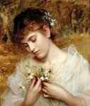 Sophie Gengembre Anderson (1823-1903)  Love In a Mist  Oil on canvas  Private collection