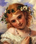 Sophie Gengembre Anderson (1823-1903)  Young Girl with a Garland of Marguerites  Oil on canvas, unknown  Private collection