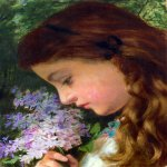 Sophie Gengembre Anderson (1823-1903)  Girl With Lilac  Oil on canvas, unknown  19.4 x 22.3 cm (7.64