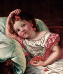 Sophie Gengembre Anderson (1823-1903)  Cherry Ripe  Oil on canvas, unknown  Private collection