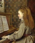 Sophie Gengembre Anderson (1823-1903)  Portrait of a girl, seated half-length, in a grey dress, playing the piano  Oil on canvas, unknown  Private collection