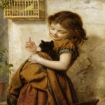 Sophie Gengembre Anderson (1823-1903)  Her Favorite Pets  Oil On Canvas, unknown  51 x 41 cm (20.08