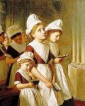 Sophie Gengembre Anderson (1823-1903)  Foundling Girls in their School Dresses at Prayer in the Chapel  Oil on canvas, unknown  Private collection