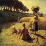 John Ottis Adams (1851-1927)  Gleaners at Rest  Oil on canvas, 1886  28 3/4 x 39 inches (73.03 x 99.06 cm)  Ball State University Art Museum