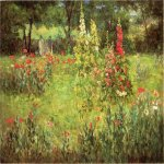 John Ottis Adams (1851-1927)  Hollyhocks and Poppies - The Hermitage  Oil on canvas, 1901  18 x 24 inches (45.72 x 60.96 cm)  Fort Wayne Museum of Art