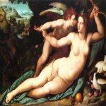 Alessandro Allori (1535-1607)  Venus and Cupid  Oil on wood  Private collection