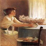 John White Alexander (1856-1915)  A Meadow Flower  Oil on canvas, 1912  50 1/2 x 40 1/2 inches (128.27 x 102.87 cm)  Public collection