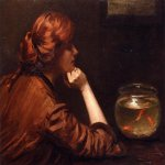 John White Alexander (1856-1915)  An Idle Moment  Oil on canvas, c.1885  26 x 34 inches (66.04 x 86.36 cm)  Public collection