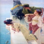 Sir Lawrence Alma-Tadema (1836-1912)  A Coign of Vantage  Oil on canvas, 1895  17 1/2 x 25 1/8 inches (44.5 x 64 cm)  Private collection