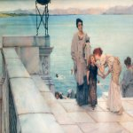 Sir Lawrence Alma-Tadema (1836-1912)  A Kiss  Oil on canvas, 1891  17 7/8 x 24 3/4 inches (45.7 x 62.9 cm)  Private collection
