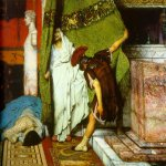 Sir Lawrence Alma-Tadema (1836-1912)  A Roman Emperor AD41 - detail I  Oil on canvas, 1871  32 7/8 x 68 1/2 inches (83.8 x 174.2 cm)  Private collection
