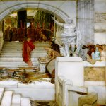 Sir Lawrence Alma-Tadema (1836-1912)  After the Audience  Oil on canvas, 1879  25 7/8 x 35 7/8 inches (66 x 91.4 cm)  Private collection