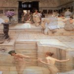 Sir Lawrence Alma-Tadema (1836-1912)  A Favorite Custom  Oil on canvas, 1909  17 5/8 x 26 inches (45 x 66.1 cm)  Tate Gallery, London