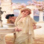 Sir Lawrence Alma-Tadema (1836-1912)  A Difference of Opinion  Oil on canvas, 1896  15 x 9 inches (38.10 x 22.86 cm)  Collection of Fred and Sherry Ross