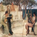 Sir Lawrence Alma-Tadema (1836-1912)  Sappho and Alcaeus  Oil on canvas, 1881  25 7/8 x 48 inches (66 x 122 cm)  Private collection