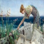 Sir Lawrence Alma-Tadema (1836-1912)  Among the Ruins  Oil on canvas, 1902-1904  9 3/8 x 15 1/4 inches (24 x 39 cm)  Private collection