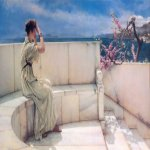Sir Lawrence Alma-Tadema (1836-1912)  Expectations  Oil on canvas, 1885  26 x 17 5/8 inches (66.1 x 45 cm)  Private collection