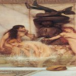 Sir Lawrence Alma-Tadema (1836-1912)  Strigils and Sponges  Watercolour, 1879  12 1/2 x 5 1/2 inches (31.8 x 14 cm)  Private collection