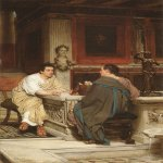 Sir Lawrence Alma-Tadema (1836-1912)  The Discourse  Oil on cradled panel  16 x 10 inches (40.64 x 25.40 cm)  Collection of Fred and Sherry Ross