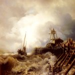 Andreas Achenbach (1815-1910)  A Fishing Boat Caught In A Squall Off A Jetty  Oil on canvas, 1865  37 3/4 x 55 inches (96 x 140 cm)  Private collection