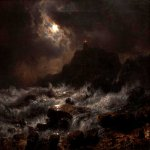 Andreas Achenbach (1815-1910)  Norwegian Coast by Moonlight  Oil on canvas, 1848  10 1/4 x 14 1/2 inches (26.35 x 36.83 cm)  Crocker Art Museum