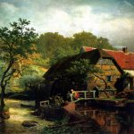 Andreas Achenbach (1815-1910)  Westfälische Wassermühle  Oil on canvas, 1863  Public collection