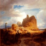 Andreas Achenbach (1815-1910)  Don Quixote and Sancho Panza  Oil on canvas, 1850  28 5/8 x 42 1/8 inches (73 x 107 cm)  Private collection