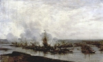 Alexey Petrovich Bogolyubov (16 March 1824 – 3 February 1896) Sketch: Battle of Gangut (third time) Oil on wood, 1876