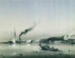 """Alexey Petrovich Bogolyubov (16 March 1824 – 3 February 1896) Actions steamer \""""Colchis\"""". 1853 Watercolor on paper, 1854 28 x 36 cm Central Naval Museum, St. Petersburg, Russia"""