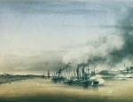 "Alexey Petrovich Bogolyubov (16 March 1824 – 3 February 1896) Actions steamer ""Orderly\"" and eight gunboats against the fortress Isakchi. 1854 Watercolor on paper, 1854 27 x 36 cm Central Naval Museum, St. Petersburg, Russia"