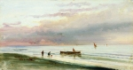 Alexey Petrovich Bogolyubov (16 March 1824 � 3 February 1896) Dieppe. Sunset Canvas on wood, oil 20.5 x 37.5 cm Chelyabinsk Region Picture Gallery, Russia