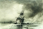 Alexey Petrovich Bogolyubov (16 March 1824  3 February 1896) Ships at the shore Oil on canvas 19 x 29 cm Art Museum of Fine Arts,  Nizhny Tagil, Russia Alexey Petrovich Bogolyubov (16 March 1824  3 February 1896) Ships at the shore Oil on canvas 19 x 29