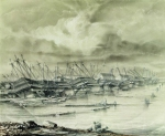 Alexey Petrovich Bogolyubov (16 March 1824 � 3 February 1896) Kronstadt military harbor after a flood. 1850 Paper, ink, pencil, 1850 30 x 50 cm Central Naval Museum, St. Petersburg, Russia