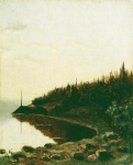 Alexey Petrovich Bogolyubov (16 March 1824 � 3 February 1896) Wooded shore Etude Oil on canvas, c. 1850 27.2 x 21.8 cm Plessky State Historical-Architectural and Art Museum, Russia