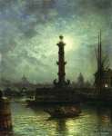 Alexey Petrovich Bogolyubov (16 March 1824 – 3 February 1896) Moonlit Night on the Neva River, near the Exchange Oil on wood, 1850 46 x 38 cm The State Art Gallery of P.M. Dogadin, Astrakhan, Russia