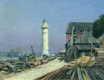 Alexey Petrovich Bogolyubov (16 March 1824 � 3 February 1896) Lighthouse. Shipyard in Gonflere Oil on canvas 29.5 x 38 cm Volgograd Museum of Fine Arts, Russia