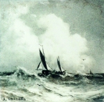 Alexey Petrovich Bogolyubov (16 March 1824 � 3 February 1896) Seascape with sailboat, 1870