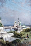 Alexey Petrovich Bogolyubov (16 March 1824 – 3 February 1896) Moscow. View of the Kremlin Etude Oil on wood, 1879
