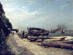 Alexey Petrovich Bogolyubov (16 March 1824 – 3 February 1896) Honfleur. Beach Seine. Estuary Oil on canvas, 1876