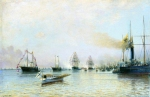 Alexey Petrovich Bogolyubov (16 March 1824 – 3 February 1896) Parade of ships of the Baltic fleet on the occasion  of the arrival of the German fleet in 1888 Oil on canvas, 1888 48 x 75 cm Central Naval Museum, St. Petersburg, Russia