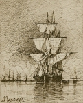 Alexey Petrovich Bogolyubov (16 March 1824 – 3 February 1896) Sailing ship at anchor Paper, sepia