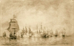 Alexey Petrovich Bogolyubov (16 March 1824 – 3 February 1896) The first naval battle (N.Senyavin) Paper, sepia, 1866