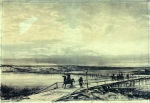 Alexey Petrovich Bogolyubov (16 March 1824 – 3 February 1896) Pontoon bridge across the Danube Charcoal on paper, 1878 40 x 58 cm Central Naval Museum, St. Petersburg, Russia