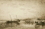 Alexey Petrovich Bogolyubov (16 March 1824 – 3 February 1896) Port Alassio. Evening Paper, sepia