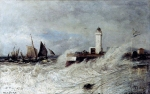 Alexey Petrovich Bogolyubov (16 March 1824 – 3 February 1896) Tide in a storm. Treport Oil on canvas, 1876