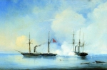 Alexey Petrovich Bogolyubov (16 March 1824  3 February 1896) Battle ship-frigate \&quot;Vladimir\&quot;  with the Turkish-Egyptian war ship  \&quot;Pervaz-Bahri\&quot; November 5, 1853 Oil on canvas, 1850-s 46.5 x 71 cm Central Naval Museum, St. Petersbu